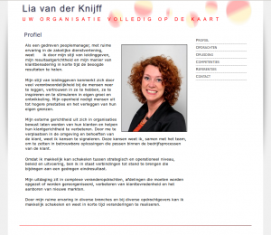 Screenshot van de website liavanderknijff.nl