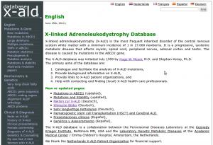 Screenshot van de website x-ald.nl.